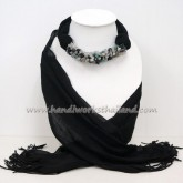 Black Scarf Decorated with Mix